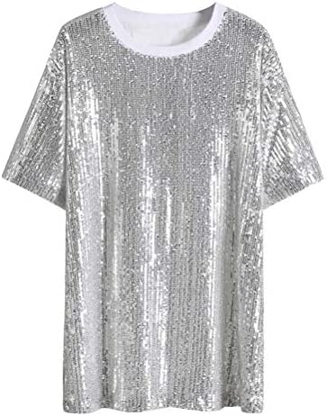 O&YQ Summer long Loose Fashion Top, Sequined Sparkling T-Shirt Female Short Sleeve, Silver, XL