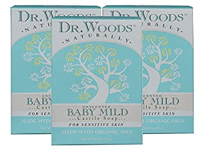 Dr. Woods Unscented Baby Mild Bar Soap with Organic Shea Butter for Sensitive Skin, 5.25 oz
