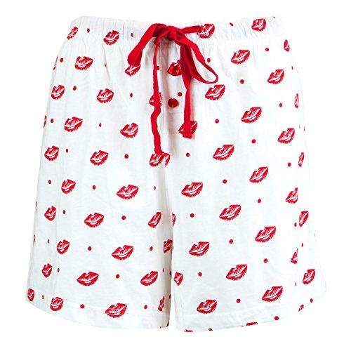 Leisureland Women's Cotton Knit Pajama Sleepwear Lounge Boxer Shorts Smooch Kiss Lips Print White Medium