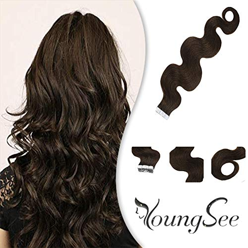 YoungSee 16inch Curly Tape in Hair Extensions Human Hair #4 Dark Brown Remy Hair Extensions Tape in...