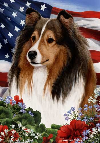 Cheap Sheltie Dog Breed Patriotic House Flag 28 x 40 Inches Sable
