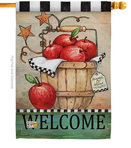 Breeze Decor H117039-P3 Apple Basket Food Fruits Impressions Decorative Vertical 28