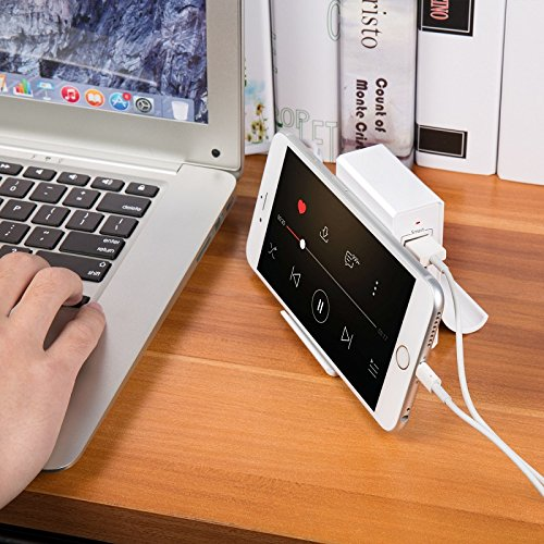 Atizzy Multi Port Usb Charger with Phone Stand, 24W 4.8A 4-Port Usb Hub Rapid Desktop Charging Station Usb Adapter for Apple iOS,Samsung Android & All Other USB Enabled Devices-White by Atizzy (Image #5)