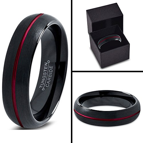 Tungsten Wedding Band Ring 6mm for Men Women Red Black Domed Brushed Polished Center Line Lifetime Guarantee