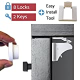 Baby Safety Magnetic Cabinet Locks for Child Proofing (8 Locks & Latches, 2 Interchangeable Keys) with 3M Adhesive - No Drill