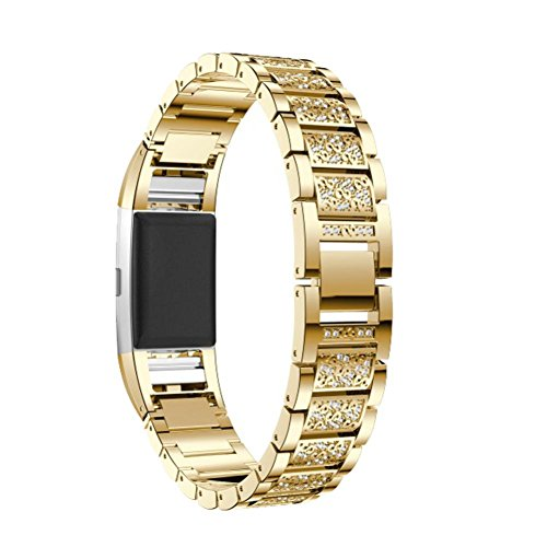 Lime Crystal Bracelet - For Fitbit Charge 2 Small Large, Luxury Engraved Crystal Diamonds Stainless Steel Accessories Bracelet Watch Bands Metal Replacement Strap Sport Wristbands for Fitbit Charge 2 Women Men (Gold)