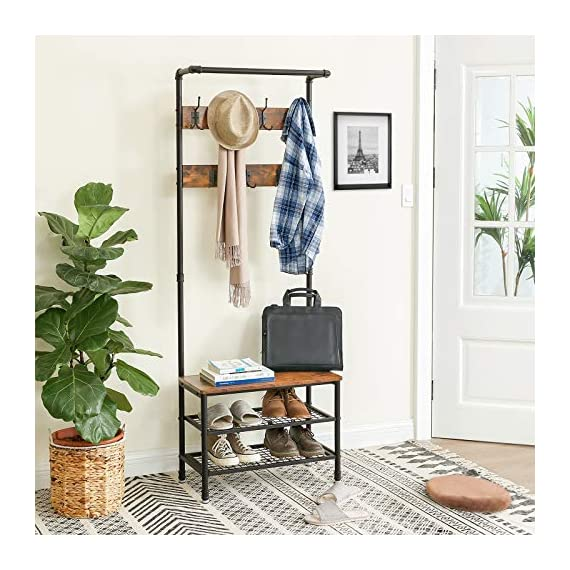 """VASAGLE URBENCE Hall Tree, Coat Rack Stand with Bench, Shoe Rack with 2 Mesh Shelves, Hallway, Living Room, Steel, Easy Assembly, Industrial Design, Rustic Brown UHSR37BX - OPPOSITES ATTRACT: Steel and engineered wood, rustic and industrial design, coat stand and shoe rack—this 26""""L x 12.8""""W x 72""""H hall tree is full of contrasts and yet ultimately forms a perfect unit STABILITY AT ITS BEST: We all know those wobbly coat racks that collapse when a coat is hung up. Thanks to the sturdy steel tubes, this coat rack always stands like a rock EVERYTHING ON THE HOOK: Your appointment starts in 20 minutes! It's a good thing that your jacket is hanging on one of the 7 hooks of this coat rack and your sneakers are standing on one of the two mesh shelves. Sit on the bench and quickly put on your shoes! - hall-trees, entryway-furniture-decor, entryway-laundry-room - 51qLyVzxEnL. SS570  -"""