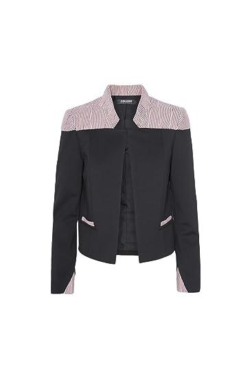 NYUE01BR A+Blazers Chaqueta Mujer Negro Rosa Corta Cuello Mao ...