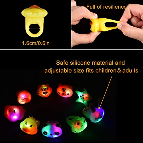 Light Up Rings 40pcs, Party Favors For Kids Prizes Box Toys, Led Animal Jelly Rings Flashing Finger Lights, Glow in the Dark Party Supplies Kids Gifts for Classroom Prizes Halloween Christmas Birthday