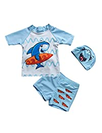 TAIYCYXGAN Baby Toddler Boys Two Pieces Swimsuit Set Boys Dinosaur Bathing Suit Rash Guards with Hat UPF 50+