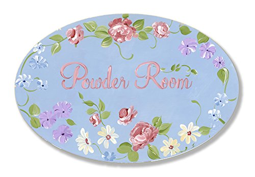 Stupell Home Blue with Roses Powder Room Oval Bath - Oval Rose Plaque