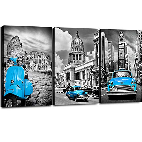 - Teal Canvas Wall Art for Living Room 3 Pieces Framed Prints Painting Simple Life Black and White New York Decor Blue Car Morden Giclee Europe Buildings Picture Home Walls Decorations 32