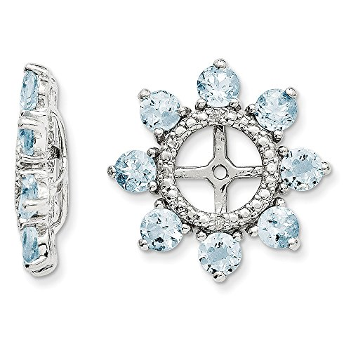Sterling Silver Rhodium Diamond & Aquamarine Earring Jacket by Jewels By Lux