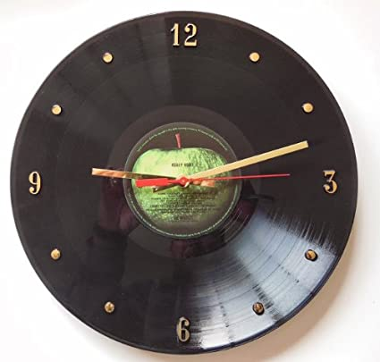 THE BEATLES Abbey Road Vinyl Record Clock Apple Label 12quot Wall