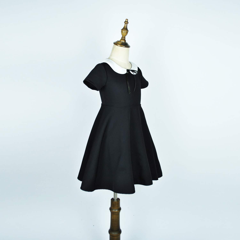 a Maniche Corte Abbyabbie.Li Vestito da Bambola con Colletto Bianco e Fiocco per Feste e scuole con Elastico a Vita Alta
