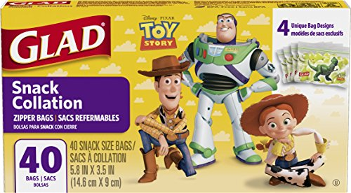 Glad Food Storage Bags, Snack Size Zipper Bags, Toy Story, 40 Count]()