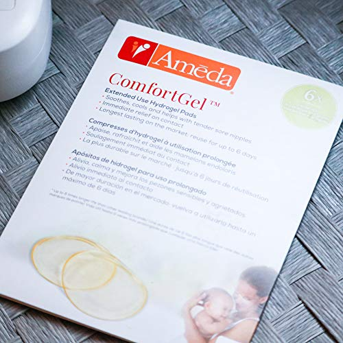 Ameda ComfortGel Soothing Breastfeeding Pads Nipple Therapy, Reusable Cooling Relief, Helps Provide Nipple Pain Relief (1 Pair)