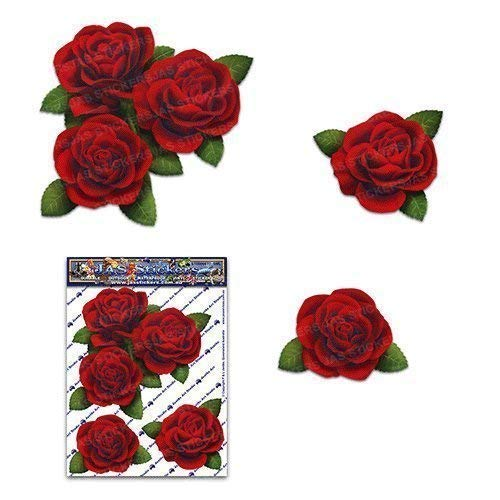 Fleur rouge roses Emballage autocollants - ST00066RD_SML - JAS Stickers