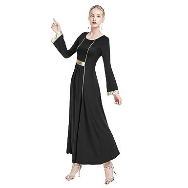 4309f56b164 Amazon.com  IMEKIS Women Metallic Color Block Praise Dance Dress ...