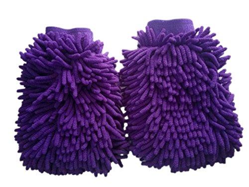 Harzole CC-202 2Pake Chenille Microfiber Premium Scratch-Free Wash Mitt, Violet 10.4 x 7.6 x 1.4 inches