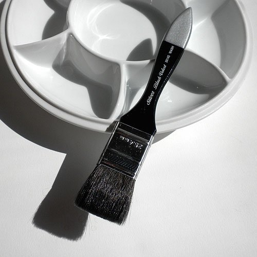 Silver Brush 3025S-S Black Velvet Short Handle Blend Squirrel and Risslon Brush, Jumbo Round Wash, (Hair Round Wash Brush)