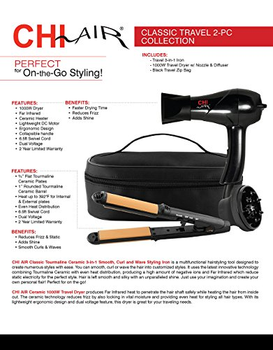 CHI-Air-Classic-Travel-2-Piece-Collection-3-in-1-Hairstyling-Iron-and-Dryer-with-Zip-Bag-Black-1-lb