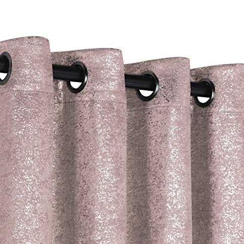 GoodGram 2 Pack Sparkle Chic Thermal Blackout Curtain Panels - Assorted Colors & Sizes (Rose/Pink, 84 in. Long) (Glitter Pink Curtains)