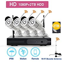 ZGWANG Smart Wireless Security Cameras- 4 Pack- HD 1080P Indoor/Outdoor WiFi IP Cameras with Night Vision Easy Remote Access with 2TB