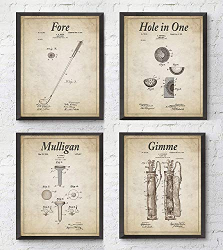 Golfing Wall Art Prints with Slogans, Set of 4, UNFRAMED, Vintage golf club, golf ball, golf tee, golf bag patent home & wall decorGift, 8x10 inches