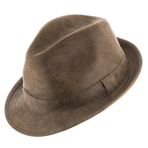 Napoli Soft Suede Faux Leather Stingy Snap Brim Trilby Fe...