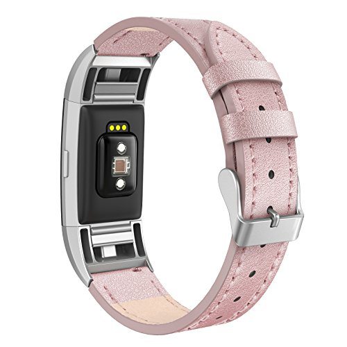 Pink Leather Band (Fitbit Charge 2 Bands Leather Small (5.6