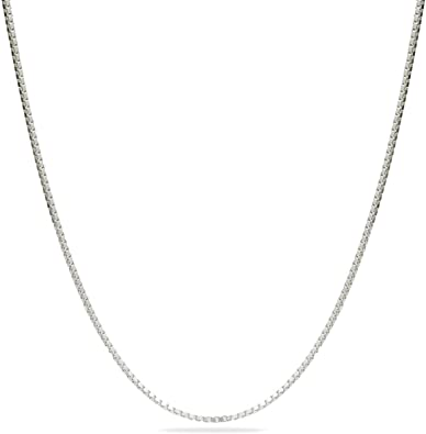 0.72-1.14 mm Thickness 16-24 inch Length Jewelry Italian Made Venetian Collection for Women /& Men Sterling Silver Rhodium Plated Box Chain Necklace