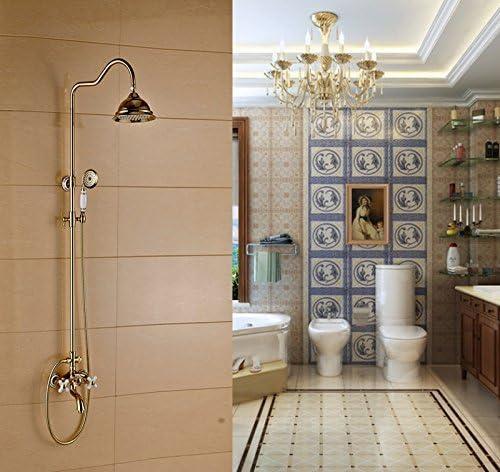 ヨーロピアンスタイルのレトロゴールドメッキセラミックシャワースプレーシャワーの蛇口セット