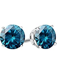 1/2-10 Carat Total Weight Blue Diamond Stud Earrings 4 Prong Push Back