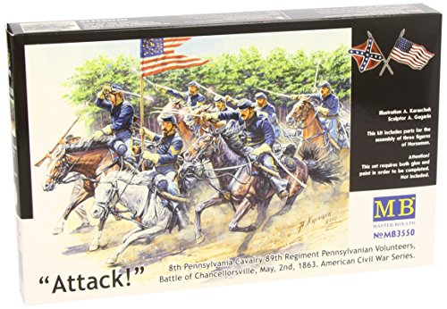 """Master Box Models """"8th Pennsylvania Cavalry Regiment"""" Model Building Kit - U.S. Civil War Series, 3 Horses and 3 Riders, Scale 1/35 from Master Box Models"""