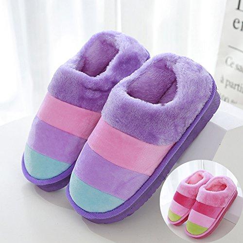 LaxBaAbsorption de choc mou et perméable à lintérieur dhiver Chambre pantoufles pour hommes et femmes Purple Rose + 40-41