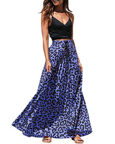 Ashuai Women Leopard Print Maxi Skirts High Waisted Drawstring Skirt Summer Long Skirts Blue