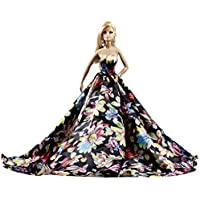 Gorgeous Bright Floral on Black Silk Ball Gown for Barbie...