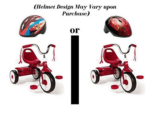 Radio Flyer Ready-To-Ride Folding Tricycle Bundled with Disney Cars Toddler Helmet, Red (Design May Vary)