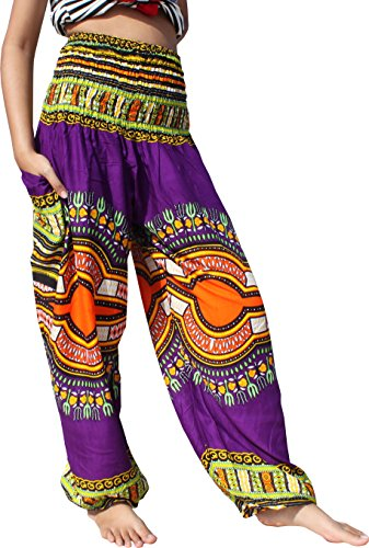Full Funk Rayon Smock Waist Harem Pants Pocket Straight Mixed Dashiki Pattern, XXXX-Large, Pattern B Purple