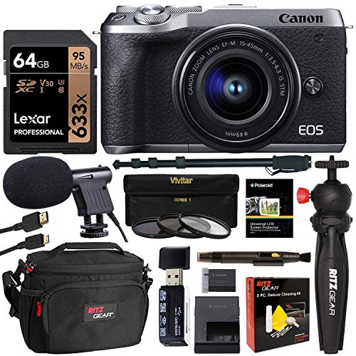 Canon EOS M6 Mark II Mirrorless Camera with Viewfinder and EF-M 15-45mm Lens (Silver) [ 3612C011 ] with Lexar 64GB U3 Video Memory Card, Tabletop Tripod, Filter Kit, Memory Card Reader and Camera Bag