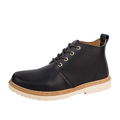 ALIKEEY Hombres Casual Zapatos De Primavera De Alta Top Vintage Lace Up Botas Al Aire Libre De Martin: Amazon.es: Zapatos y complementos