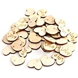 150pcs Wooden Love Heart Confetti Plaque for Wedding Table Scatter Decor Craft - 15x11mm