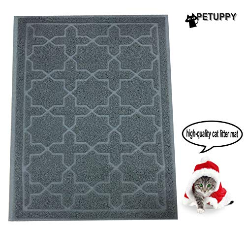 PETUPPY Premium Durable Cat Litter Mat, XL Size 35.5″X23.5″- No Phthalate- Non-Slip-Water Resistant- Easy to Clean-Soft On Kitty Paws-Traps Litter from Litter Box(Extra Large Gray White Brown)
