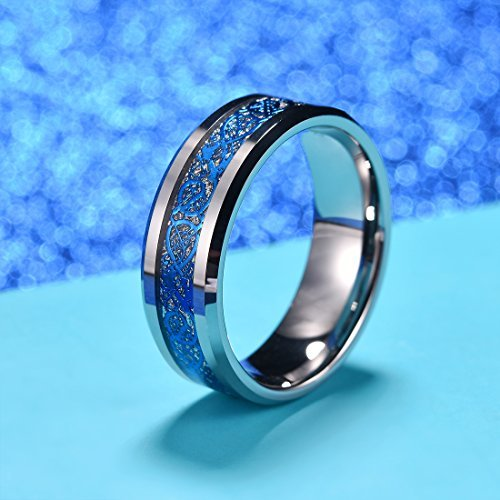 King Will Dragon Men Women 8mm Tungsten Carbide Ring Blue Celtic Imitated Meteorite Inlay Ring Beveled Edge(10) by King Will (Image #3)