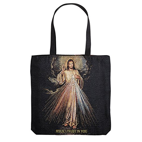 (The Divine Mercy Jesus Christ Tapestry Tote Bag with Zipper Closure, 12 Inch)