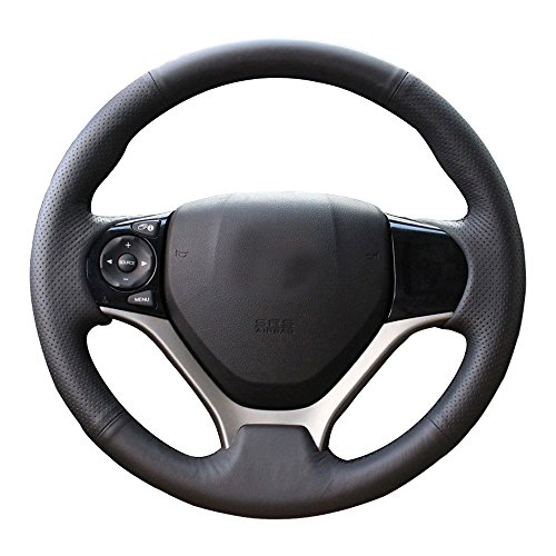Eiseng DIY Sew Black Genuine Leather Steering Wheel Cover Stitch on Wrap for Honda Civic 2012 2013 2014 2015 interior Accessories 13.5-14.5 inches (Black thread)