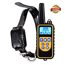 Dog training collar rechargeable and waterproof bark stop anti no barking devices with remote control sound vibration shock pet behavior collar for small medium large dogs 800 yards range (for 1 dog)