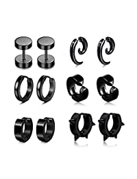 6 Pairs Stud Earrings Hoop Earrings for Men Women Stainless Steel Huggie Cartilage Earrings Set