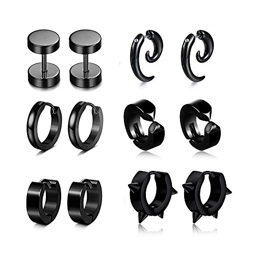 6 Pairs Stud Earrings Hoop Earrings for Men Women Stainless Steel Huggie Cartilage Earrings - Magnetic Spike Earrings